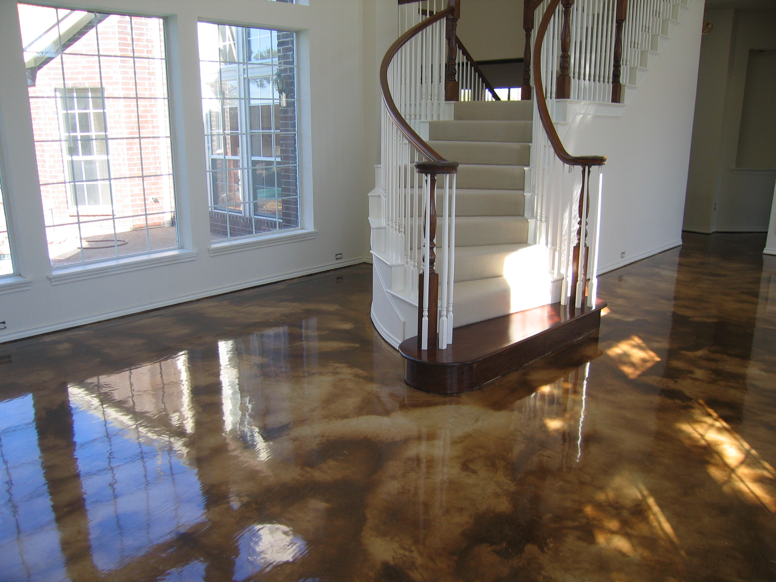 Acid stained concrete and decorative concrete overlays iin for Concrete floor covering